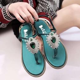 Wholesale Girls Shoe Clips - Korean Women New Style Female Summer Flat Sloe Clip Toes Diamond Rhinestone Girls Beach Sandals Bohemian Shoes 35-39