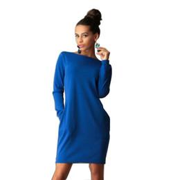 Wholesale Woman Work Office Wear - Wholesale- 2017 Solid Loose Casual Bodycon Autumn Dress Women's O neck Long Sleeve Office Dress Two Pockets Work Wear Plus Size