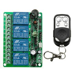 Wholesale Rf Radio Switch - Wholesale- NEW DC12V 4CH 10A Radio Controller RF Wireless Push Remote Control Switch 315 MHZ 433 MHZ teleswitch Transmitter + Receiver