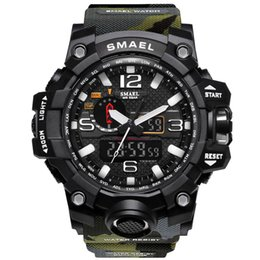 Wholesale Military Clock Time - SMAEL Brand Sport Watches Men Dual Time Camouflage Military Watch Army LED Digital Wristwatch 50M Waterproof S Shock Men Clock Drop Shipping