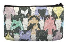 Wholesale Wristlet Cartoons - Wholesale- Cartoon Cute Cat Seamless Pop Art Print Customized Small Cosmetic Bag Wristlet hand bag Makeup Bags
