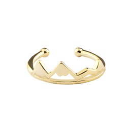 Wholesale Ring Adjustable Brass - Wholesale 10Pcs lot Free Shipping 2017 Hot Sale Fashion Silver Rings Minimalist Jewelry Snowy Mountain Adjustable Gold Filled Rings
