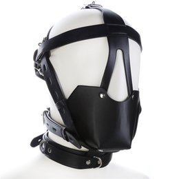 Wholesale Head Harness Ball Gags - Adult Studded Genuine leather or Faux leather Head Harness Muzzle Gag with Neck Strap Sex Bondage Fetish Restraint Face Mask Punk Hoods