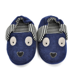 Wholesale Children S Footwear Wholesalers - Toddler Boys Slippers Cute Dog Cartoon Doggy Sandals Children 's Home Indoor Cotton Flats Soft Rubber Sole Kids Footwear in House