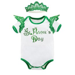 Wholesale Lace Ruffle Rompers For Girls - Baby Girls Lace Rompers 2017 Newbown Ruffle Jumpsuits+Headband Sets 0-2Y Infant Outfits St. Patrick Day Party Clothing for Children K003