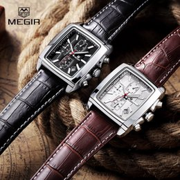 Wholesale Rectangle Function - MEGIR Chronograph Function Clocks Watch Genuine Leather Luxury Men's Top Brand Military Climbing Watch relogio  ML2028K