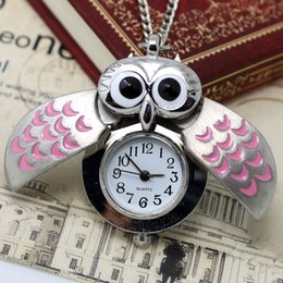 Wholesale Owl Sweater Dress - Wholesale-Fashion Silver With Pink Color Owl Shape Pocket Watch With Sweater Necklace Chain Gift For Women Ladies