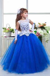 Wholesale Turquoise Children Dresses - Cute Lace Flower Girl Dresses Scoop Neck Turquoise Royal Blue Girls First Communion Dress Cheap Child Pageant Dress