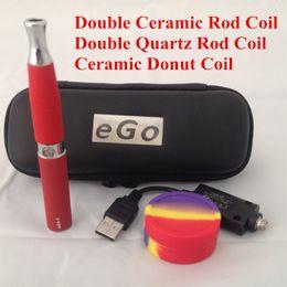Wholesale Ego Wax Skillet Battery - dual quartz coil ego-d skillet vaporizer pen kit with ego-t 650mah battery wax pen vaporizer kit e cigarette double quartz coil vaporizer