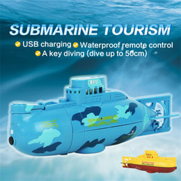 Wholesale Toy Submarines Radio Control - Wholesale- CHAMSGEND blue yellow two colors style dropship Radio Remote Controlled RC Submarine Toy Mini Underwater Submersible AG8 p30
