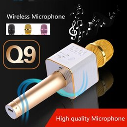 Wholesale Karaoke Wholesalers - Magic Q9 Bluetooth Microphone Speaker Q9 Karaoke Singing Record Player KTV Wireless Portable Microphone for iPhone7 plus Samsung S7 Edge LG