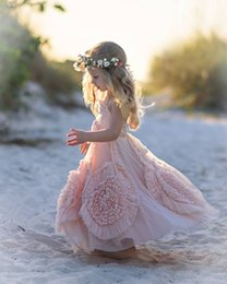 Wholesale Blushing Pink - Blush Pink Flower Girl's Dress with Floral Detailing