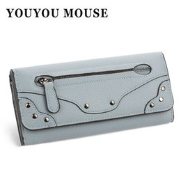 Wholesale Womens Large Wallets - YOUYOU MOUSE Hot Sale Long Wallet Vintage Rivet Solid Money Wallets Large-Capacity Multifunction PU Leather Womens Coin Purse