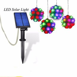 Wholesale Wholesale Decorative Outdoor String Lighting - LED Solar Rose Ball String Light Outdoor Decorative Colorful Style RGB led Solar Fariry string for Home Garden Landscape Holiday Lamps