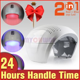 Wholesale Infrared Beauty Light - With Gift Home Use 292 LED Red Blue Infrared Light PDT Facial Care Skin Rejuvenation Beauty Lamp Machine+Micro Needle Derma Roller