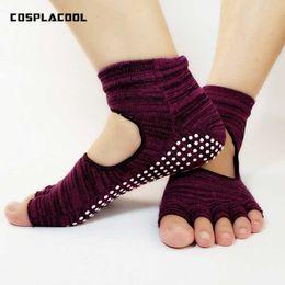 Wholesale White Ballet Socks - [COSPLACOOL]New Women Dance Socks Non-slip Cotton Ballet Socks Women High Quality Five Finger Meiasdance Indoor Yogilates Sox