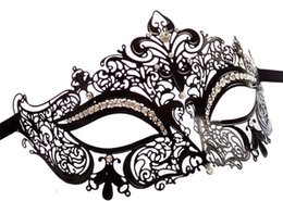 Wholesale Half Masks Masquerade Ball - Metal Filigree Laser Cut Ball Mask Christmas Halloween Wedding Charm Venetian Masquerade Rhinestone Mask Fancy Dress Party Eyemasks