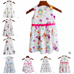 Wholesale Owl Kids Clothes - Print Dresses Girls Floral Ice Cream Owl Printed Dress Sleeveless Bowknot Summer Causal Dresses Kids Cotton Party Wedding Clothing J372