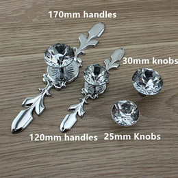 Wholesale Crystal Hardware - glass crystal dresser handle pull shiny silver drawer cabinet knob handle modern fashion chrome furniture hardware handles knobs