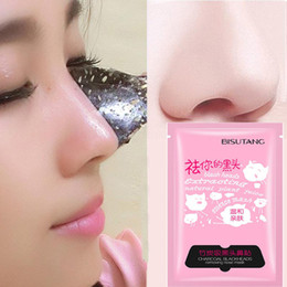 Wholesale BISUTANG bamboo charcoal mask pig nose pad suction black mask face black head remove acne pores beauty skin care deep cleansing face masks