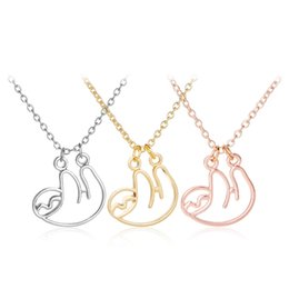 Wholesale Necklace Handmade Circle - 3 Colors Hollow Design Sloth Folivora Pendant Necklace Jewelry Cute Animal Charm Necklace Zootopia Handmade Necklace for Women