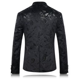 Wholesale Wedding Blazer Designs For Men - Black Blazer Men Paisley Floral Pattern Wedding Suit Jacket Slim Fit Stylish Costumes Stage Wear For Singer Mens Blazers Designs
