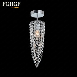 Wholesale Crystal Art Deco Ceiling Lights - Small Crystal Chandeliers Aisle Hallway Mini Crystal Light Lamp for Ceiling Corridor Cristal Lustres Light Chandeliers Free Shipping