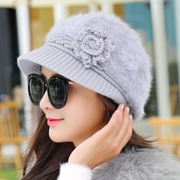 Wholesale Ladies Newsboy Hat Black - Wholesale- 2016 New Arrive Fashion Vintage Rabbit Fur Cap Ladies Flowers Newsboy Caps Painter Hats For Women