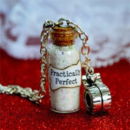 Wholesale Gift Measuring Tape - 12pcs Practically Perfect Mary Poppins Magical Magical glass Bottle Necklace with a Tape Measure Charm Inspired necklace
