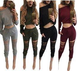 Wholesale Tight Long Sleeve Shirts Women - 2017 New Women Sexy Tracksuits Long Sleeve T Shirts and Long Pants Hole Tight Ladies Exercise Sport Suit SF06-10