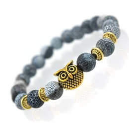 Wholesale Owl Rings Jewelry - Wholesale-Tiger Eye Lion Head Bracelet Owl Buddha beads Bracelets Bangles Charm Natural Lava Stone Bracelet yoga Jewelry pulseras hombre