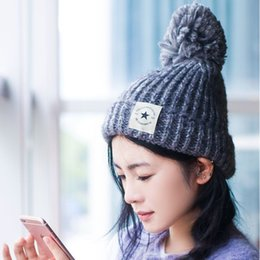 Wholesale Thermal Points - Autumn And Winter New Five-pointed Star Label Curling Wool Hat Thickening And Thermal Insulation Knitted Hats Ladies Fashion A-311