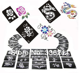 Wholesale Temporary Tattoo Supplies Wholesale - Wholesale-60pcs mixed 66styles Glitter Tattoo stencil Body Painting design airbrush Temporary Tatoo Kit template supplies Free shipping