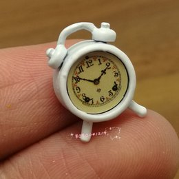 Wholesale Dollhouse Living Room - Wholesale- Dollhouse Miniature 1:12 Living Room Metal White Alarm Clock Height 1.5cm SPO466
