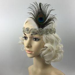 Wholesale Diamante Hair Bands - Wedding Bridal Peacock Feather Diamante Headband Hair Band Headpiece 1920s