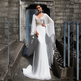 Wholesale White Chiffon Bridal Cape - New Arrival High Quality Sheath Chiffon Wedding Dress Illusion Bridal Gowns with Cape Scarf Greek Style Graecism Bridal Gown Made to Order
