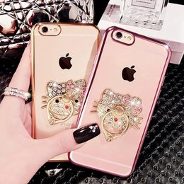Wholesale Diamond Cell Phone Cases - Cell Phone Ring Holder Cases Bling Diamond Kickstand Cases Crystal TPU Cover for iPhone 7 Iphone 6 6s 7 plus S7 edge note5