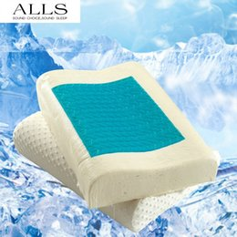 Wholesale Latex Pillows - Wholesale- 1pc Slow recovery latex particle Gel Memory foam pillow heath care neck pillow massage pillow for children adults