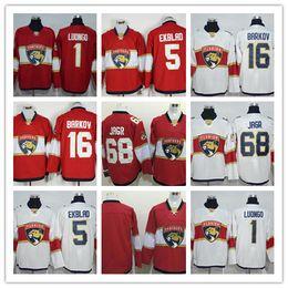 Wholesale Mix Custom - Custom 2017 Florida Panthers Hockey Jerseys 68 Jaromir Jagr Jersey Red White 1 Roberto Luongo 16 Aleksander Barkov 5 Aaron Ekblad Jersey Mix