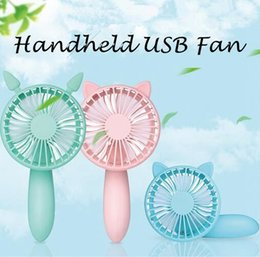 Wholesale Foldable Bars - Summer Foldable Hand Fans USB Cooler Fan Handheld Mini Fan Electric Pers Fans Hand Bar Desktop Cat Mouse Fan USB Gadgets CCA6476 60pcs