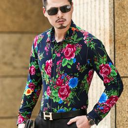 Wholesale Import Cotton - Wholesale- 5XL 6XL Plus Size Mens Long Sleeve Silk Cotton Shirts Floral Shirt Men Slim Fit Male Casual Imported Clothing Camisa Social T1