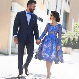 Deutschland Elegante Königsblau Cocktailkleider 2017 Kurze Spitze Appliques Langarm Knielangen Frauen Fashion Party Kleider Für Abschluss Versorgung