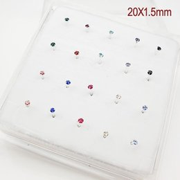 Wholesale Nose Ring Silver - 925 Sterling Silver Nose Stud With 1.5mm Crystal Nose Ring 1set 20 pcs Wholesale