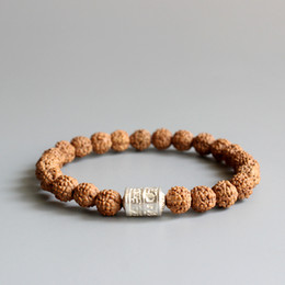 Wholesale Buddhism Mantras - Wholesale- Natural Rudraksha Seed With Tibetan Buddhism Mantra Sign White Copper Beads Bracelet For Men Women Wholesale New Mala OM Jewelry