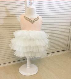 Wholesale Lace Bridemaid Gowns - Girls knee length princess dress kids Rhinestone wedding dress children lace tulle tutu vest dress fashion girls bridemaid dresses T4648