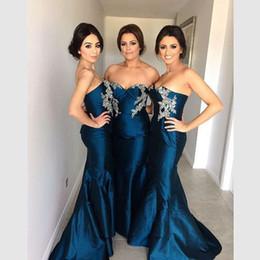 Sexy sirena azul marino vestidos de dama de honor largo Bordado de la boda apliques de tafetán vestido de fiesta Vestido Mongo 2017 desde fabricantes