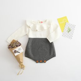 Wholesale Knitting Clothes For Babies - 2017 INS Hot Infant Baby Rompers Baby Girls Long Sleeve Jumpsuits Kids Clothing Princess Girls Sweet Knitted Overalls Infant Romper For 0-3T