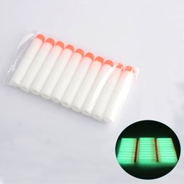 Wholesale Stocking Bows - 100 Pcs Multi COlors Fluorescence Dart Refills Round Head Foam Bullets With Hole for Nerf N-strike Elite Series Blasters Toy Gun