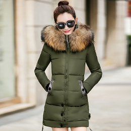 Wholesale Padded Jackets Women Plus Size - New 2017 Fashion Large Fur Collar Women'S Coats Thickening Winter Coat Long Down Cotton Jacket Female Silm Padded Parkas Plus Size 3XL