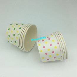 Wholesale Ice Cream Container Lid - 1200pcs Round polka dot paper cupcake case cream cup, candy cup &containers with lids mixed color